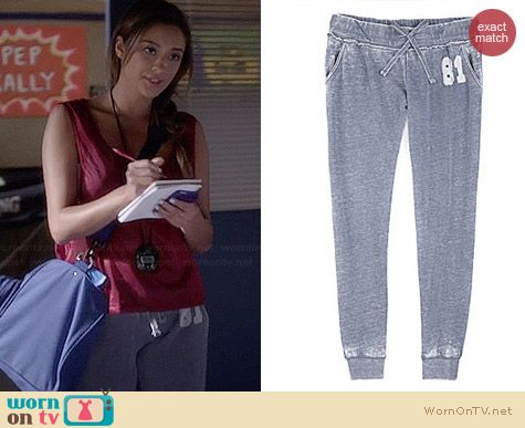 Guess Skinny Fleece Pants worn by Shay Mitchell on PLL