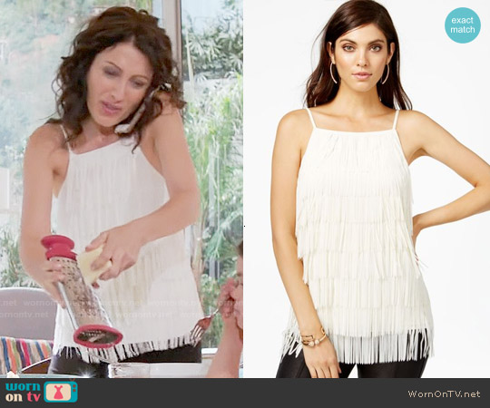 Guess Sleeveless Fringed Top worn by Lisa Edelstein on GG2D