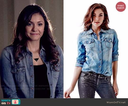 Guess Slim-Fit Denim Shirt in Fiddle Wash worn by Nina Dobrev on The Vampire Diaries