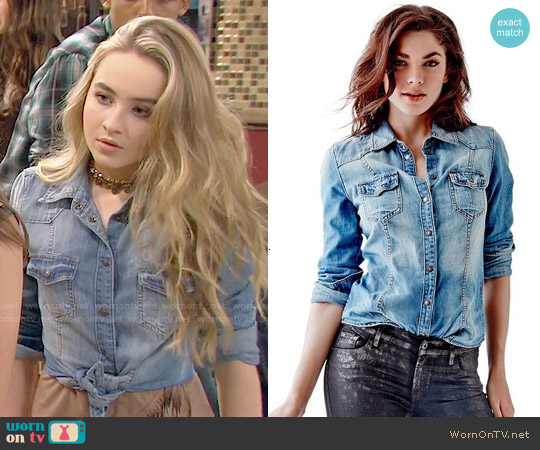 Guess Slim Fit Denim Shirt worn by Maya Hart on Girl Meets World