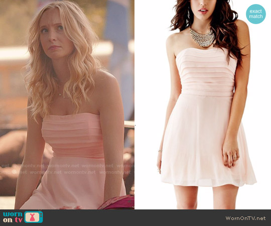 Guess Strapless Pleated Bodice Dress worn by Candice Accola on The Vampire Diaries