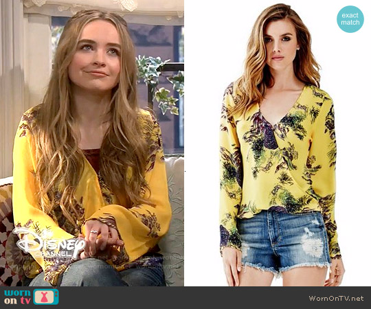 Guess Tiger Print Long Sleeve Wrap Shirt worn by Sabrina Carpenter on Girl Meets World
