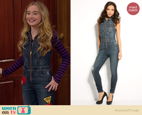 Guess Cara Denim Jumpsuit worn by Sabrina Carpenter on Girl Meets World