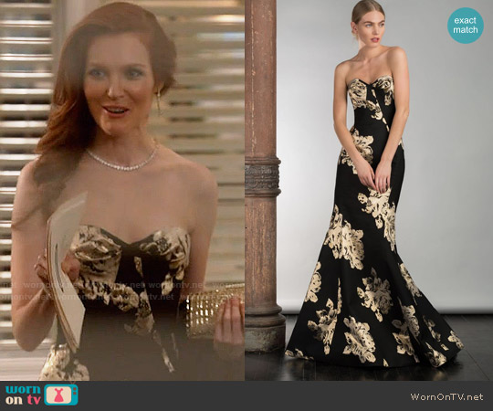 Gustavo Cadile Fall 2015 Gold Strapless Gown worn by Darby Stanchfield on Scandal