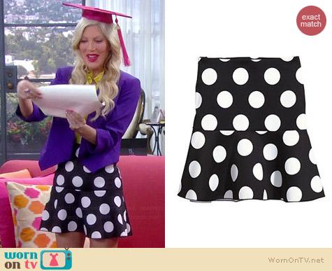 H&M Short Polka Dot Scuba Skirt worn by Tori Spelling on Mystery Girls