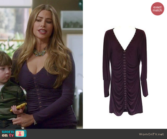 Hale Bob Purple Studded V-neck Ruched Top worn by Sofia Vergara on Modern Family