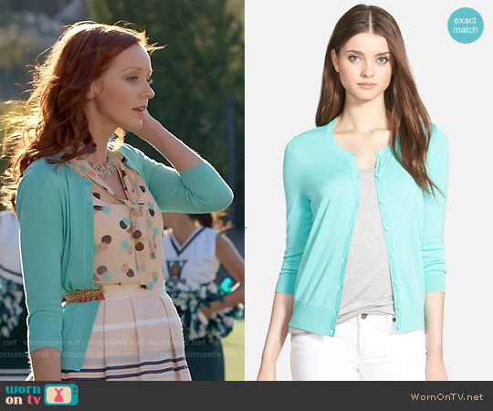 Halogen Three Quarter Sleeve Cardigan in Teal Ripple worn by Lindy Booth on The Librarians