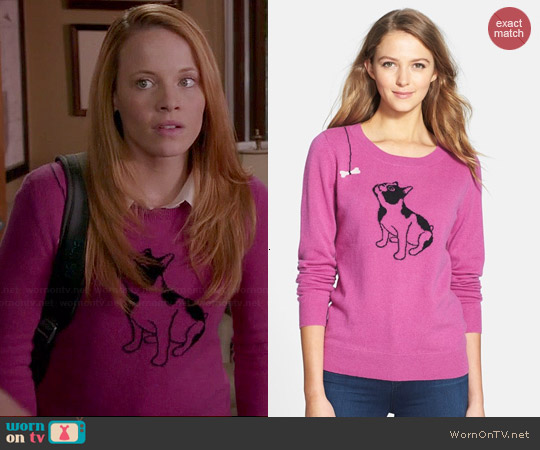 Halogen Cashmere Crewneck Sweater in Purple Dog Print worn by Katie Leclerc on Switched at Birth