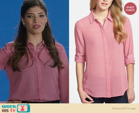 Halogen Front Button Blouse in Pink Static Print worn by Amanda Setton on The Crazy Ones