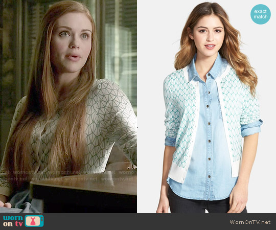 Halogen Three Quarter Sleeve Cardigan worn by Holland Roden on Teen Wolf