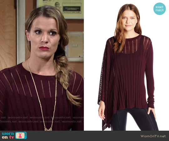 Halston Heritage Asymmetric Sleeve Poncho worn by Melissa Claire Egan on The Young & the Restless