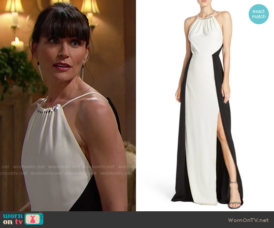 Halston Heritage Colorblock Crepe Gown worn by Rena Sofer on The Bold & the Beautiful