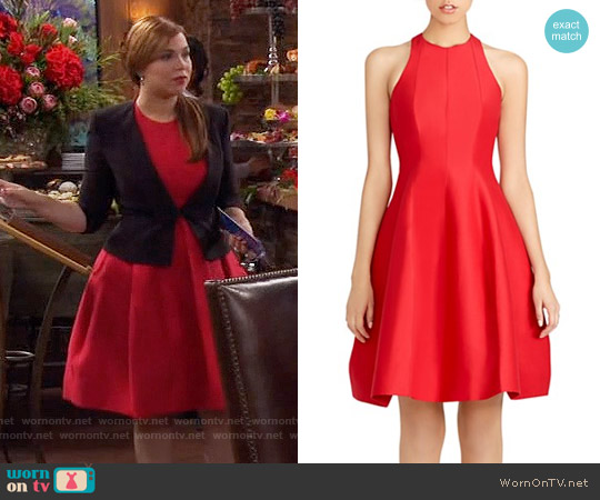 Halston Heritage Cutout Structured Fit and Flare Dress worn by Amanda Fuller on Last Man Standing