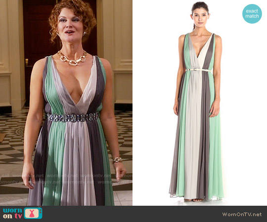 Halston Heritage Deep V-Neck Chiffon Gown worn by Rebecca Wisocky on Devious Maids
