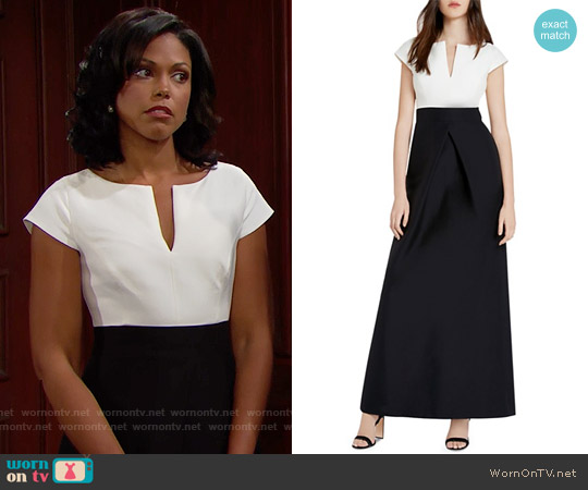 Halston Heritage Faille Color Block Gown worn by Karla Mosley on The Bold & the Beautiful
