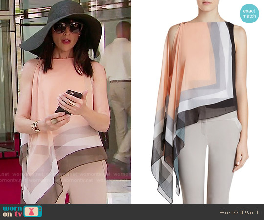 Halston Heritage Scarf Print Crinkle Chiffon Top worn by Rena Sofer on The Bold & the Beautiful