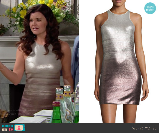 Halston Heritage Sleeveless Sequined Fitted Cocktail Dress worn by Heather Tom on The Bold & the Beautiful