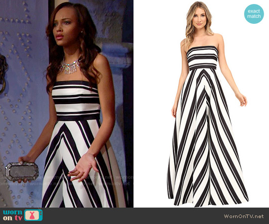 Halston Heritage Strapless Placement Print Structured Gown worn by Reign Edwards on The Bold & the Beautiful