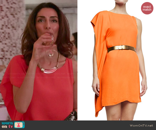 Halston Heritage Asymmetric Drape Sleeve Dress worn by Necar Zadegan on GG2D