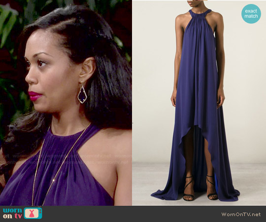 Halston Heritage Asymmetric Hem Pleated Gown worn by Hilary Curtis on The Young & the Restless