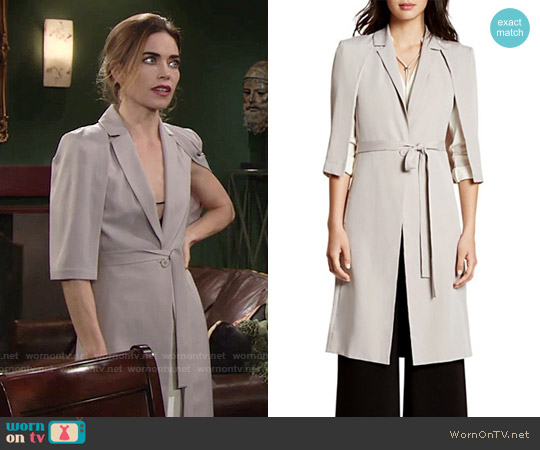 Halston Heritage Cape Trench Coat worn by Amelia Heinle on The Young & the Restless