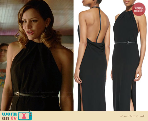 Halston Heritage Jersey Gathered-Neck Back-Drape Gown worn by Katharine McPhee on Scorpion