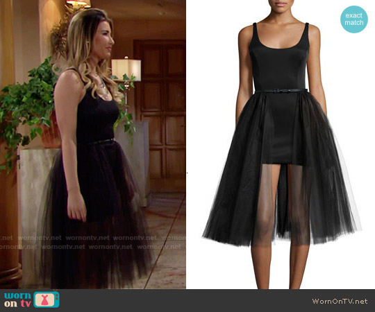 Halston Heritage Sleeveless Belted Cocktail Dress w/ Tulle Overlay worn by Jacqueline MacInnes Wood on The Bold & the Beautiful