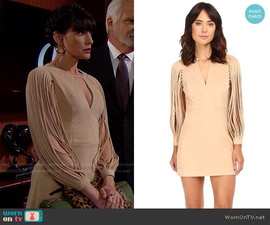 Halston Heritage Strappy Long Sleeve Ultrasuede Dress worn by Rena Sofer on The Bold & the Beautiful