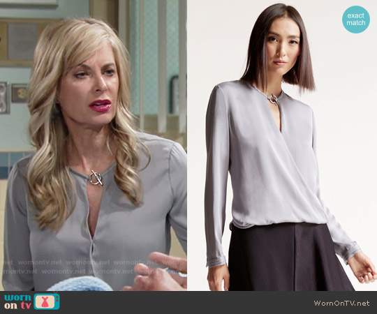 Halston Heritage Draped Silk Blouse worn by Eileen Davidson on The Young & the Restless