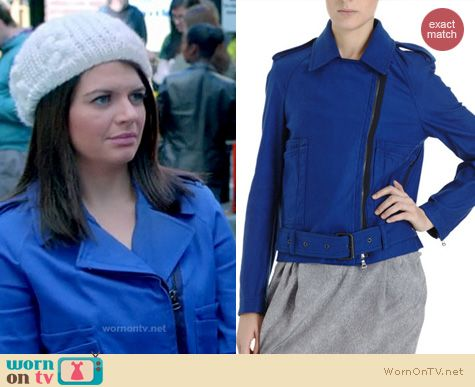 Happy Endings Fashion: 3.1 Phillip Lim Biker peacoat in blue worn by Casey Wilson