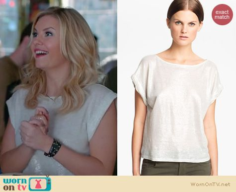 Happy Endings Fashion: Alice & Olivia Foiled linen tee worn by Elisha Cuthbert
