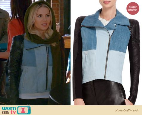 Happy Endings Fashion: BCBGMAXAZRIA denim and leather jacket worn by Elisha Cuthbert