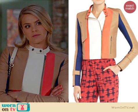Happy Endings Fashion BCBGMAXAZRIA Dixon colorblocked moto jacket worn by Eliza Coupe