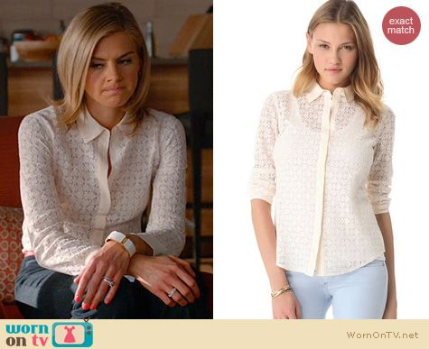 Happy Endings Fashion: Club Monaco Phoebe shirt in white worn by Eliza Coupe