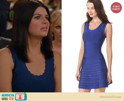 Happy Endings Fashion: Herve Leger Jules scalloped dress worn by Casey Wilson