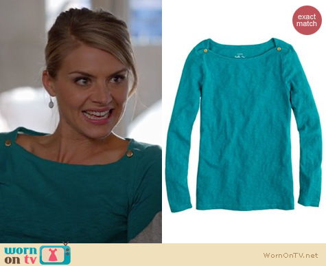 Happy Endings Fashion: J. Crew Painter boatneck top worn by Eliza Coupe