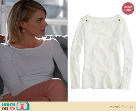 Happy Endings Fashion: J. Crew Painter boatneck top in white worn by Eliza Coupe