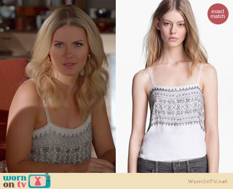 Happy Endings Fashion: L'Agence beaded camisole worn by Elisha Cuthbert
