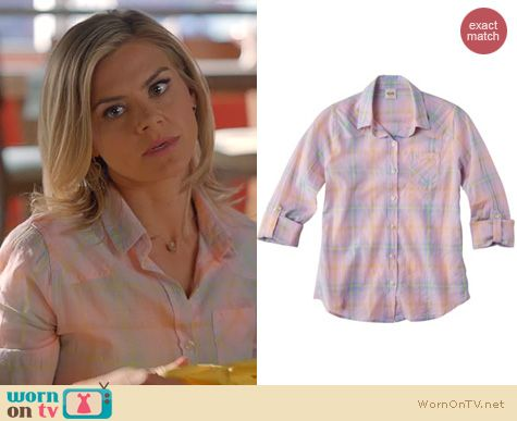 Happy Endings Fashion: Mossimo pink plaid shirt at Target worn by Eliza Coupe