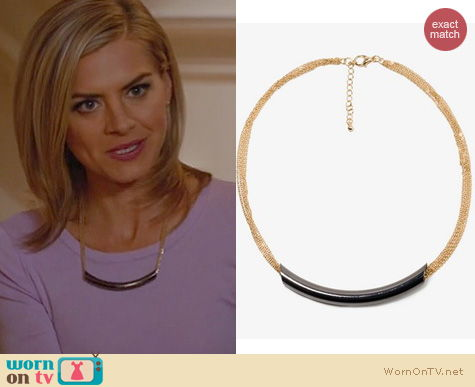 Happy Endings Fashion: Forever 21 Multi strand crescent necklace worn by Eliza Coupe