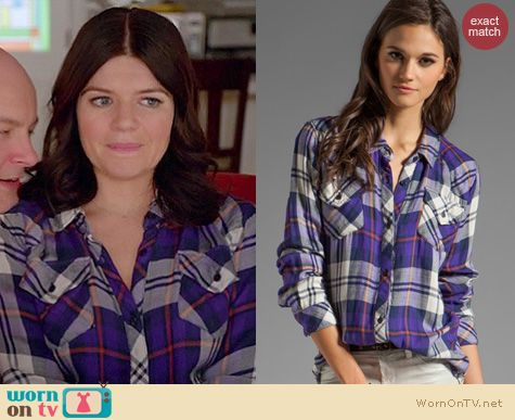Happy Endings Fashion: Rails Kendra shirt in purple worn by Casey Wilson