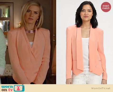 Happy Endings Fashion: Rebecca Minkoff Becky jacket worn by Eliza Coupe