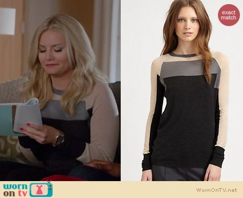 Happy Endings Fashion: See By Chloe Wool Colorblock sweater worn by Elisha Cuthbert