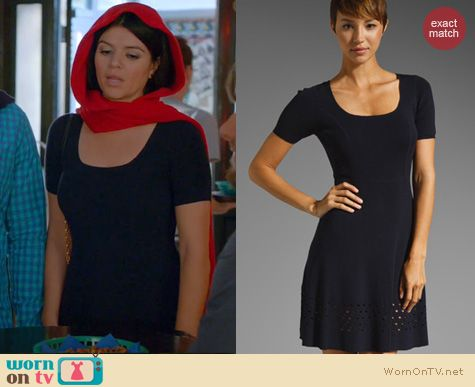 Happy Endings Fashion: Shoshanna Taylor Sweater dress worn by Casey Wilson