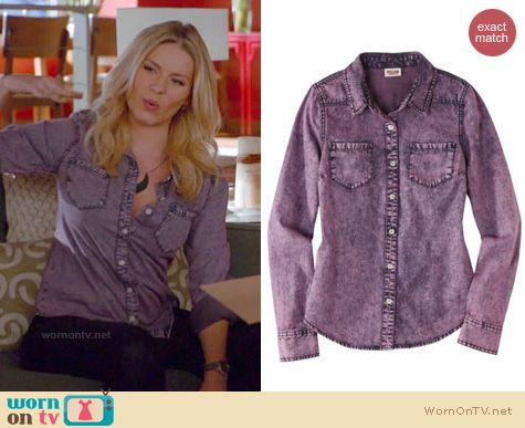 Happy Endings Fashion: Mossimo purple denim shirt from target worn by Elisha Cuthbert