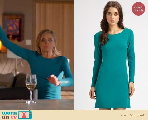 Happy Endings Fashion: Theory Kalion dress in teal worn by Eliza Coupe