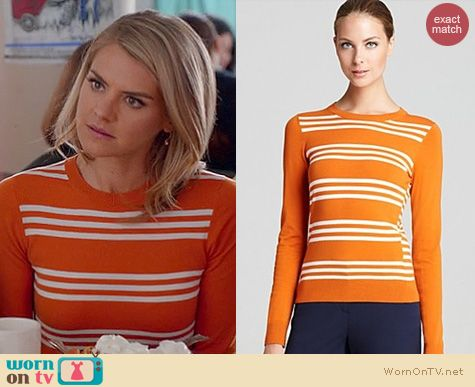 Happy Endings Fashion: Theory Tommie striped sweater in orange worn by Eliza Coupe