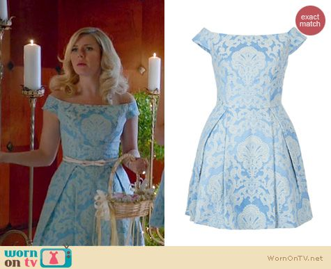 Happy Endings Fashion: Topshop Off Shoulder dress worn by Elisha Cuthbert