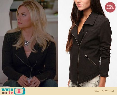 Happy Endings Fashion: Urban Outfitters Silence & Noise Freeway Moto jacket worn by Elisha Cuthbert