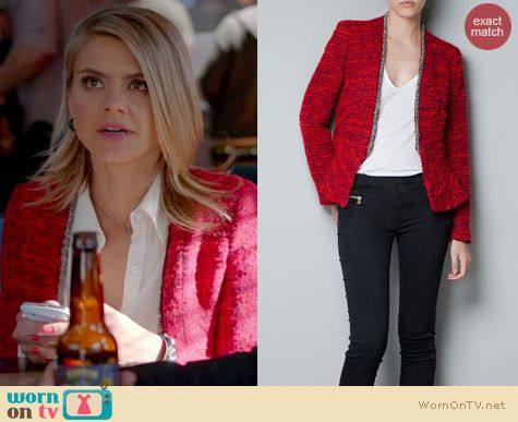 Happy Endings Fashion: Zara Wool Cardigan with metal cording worn by Eliza Coupe